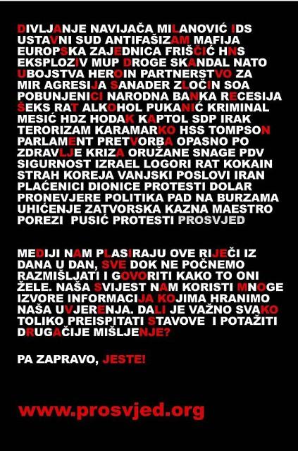 """Istra/Pula: Prosvjed """"Stegnite vi svoj remen bando lopovska"""" bez obzira na vremenske prilike i represiju na pulskom FORUMU u 18:00 sati"""