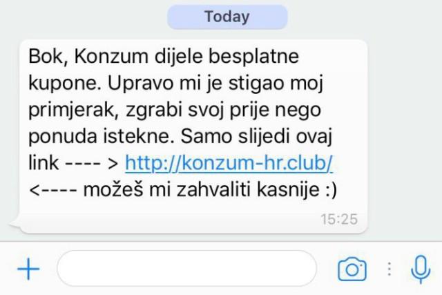 [UPOZORENJE]  Korisnici Whatsappa, ne nasjedajte na poruku o Konzumovim besplatnim kuponima!