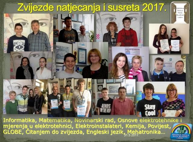 Odlični uspjesi labinskih srednjoškolaca na natjecanjima 2016/2017 godine - ukupno sudjelovao 151 učenik