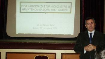 Nevio Šetić održao predavanje «Prvi narodni zastupnici iz Istre u Hrvatskom saboru»