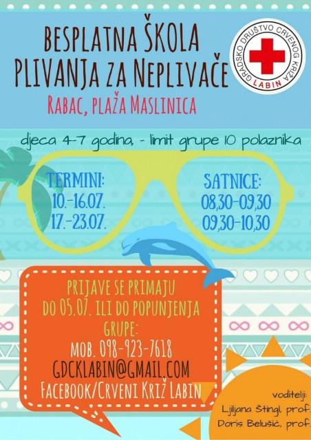 Besplatne škole plivanja u Rapcu i Tunarici