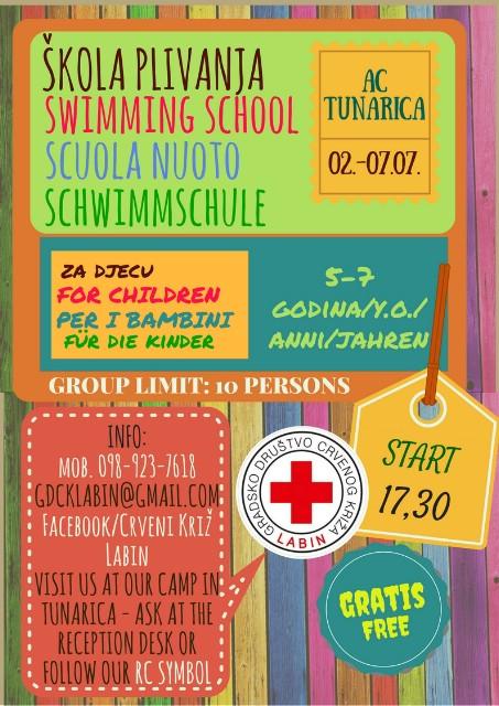 Obavijest o popunjenosti termina škola plivanja u Tunarici i Rapcu