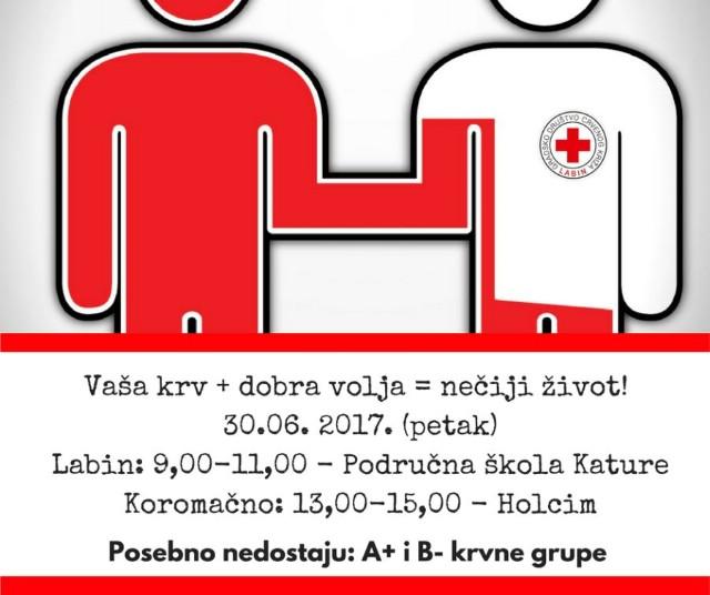 [Najava] Akcija dobrovoljnog darivanja krvi u Labinu i Koromačnu 30.6.2017. - Nedostaju krvne grupe A+ i B-