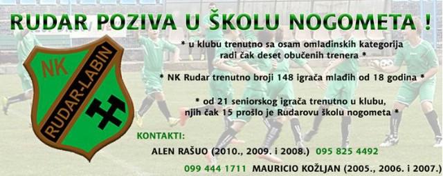 NK Rudar poziva buduće mlade nogometaše u svoju Školu nogometa !