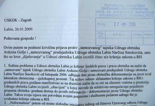 USKOK-u podnesena kaznena prijava protiv Arduina Golje i Narčiza Smokovića zbog nepravilnosti u radu Udruge obrtnika Labin