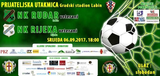 [NAJAVA] LABIN: NK Rudar-HNK Rijeka (Veterani) - gradski stadion 6.9.2017.