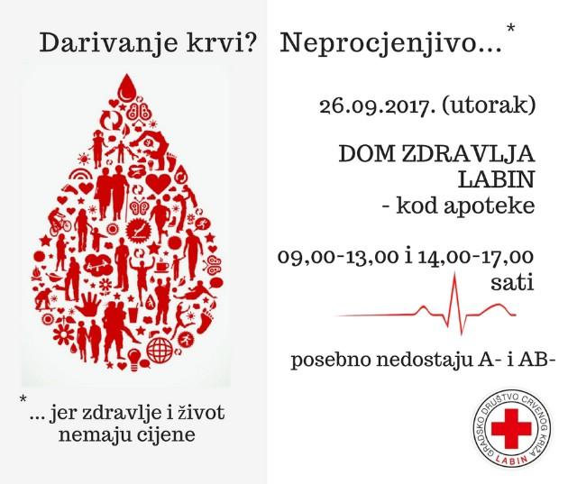 Najava: Akcija darivanja krvi u Labinu 26.9. (Nedostaju krvne grupe A- i AB-)