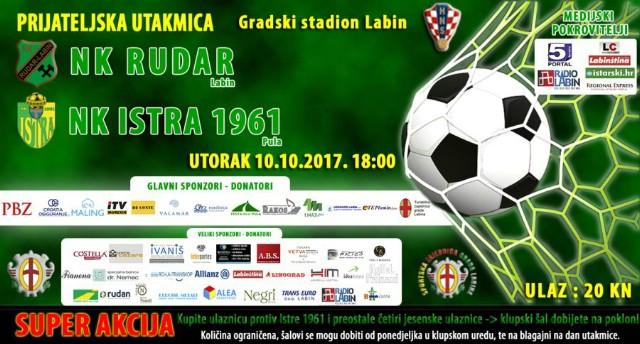 [NAJAVA] LABIN: NK Rudar-NK Istra 1961, utorak 10. 10. 2017. u 18h Gradski stadion