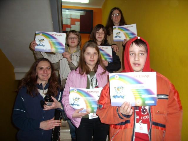 Rezultati školskog natjecanja mladeži Crvenog križa. pobjedu odnijela ekipa iz Čepića