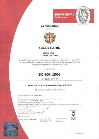 Gradu Labinu dodijeljen certifikat ISO 9001