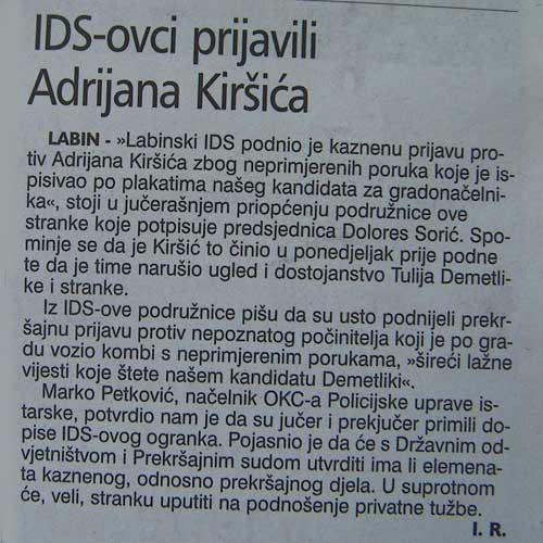 Podružnica IDS-a podnijela kaznenu prijavu protiv Adrijana Kiršića