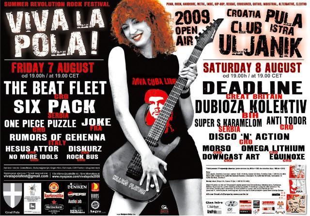 VIVA LA POLA! 2009 - raspored nastupa izvođača