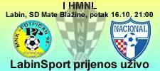 1. HMNL - MNK Potpićan 98 - MNK Nacional - 21:00 sat - LIVE prijenos @ LabinSport & CROfutsal