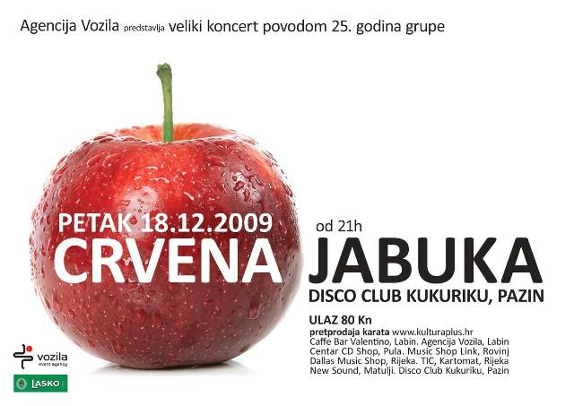 Koncert povodom 25. godina CRVENE JABUKE danas u Disco Clubu Kukuriku u Pazinu