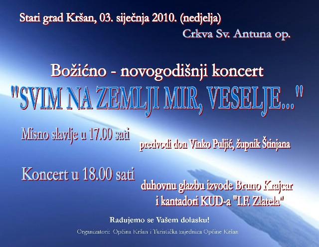 Kršan: božićno - novogodišnji koncert s Brunom Krajcarom i KUD-om Zlatela