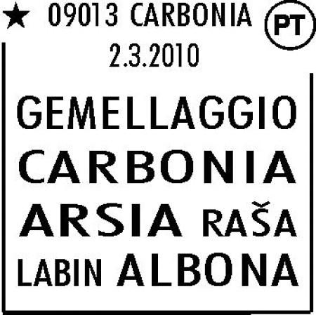 Poštanski žig posvećen bratimljenju Labina, Raše i Carbonie