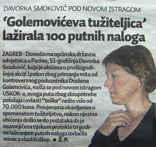 Bivša ODO u Pazinu Davorka Smoković pod novom istragom USKOK-a - lažirala 100 putnih naloga